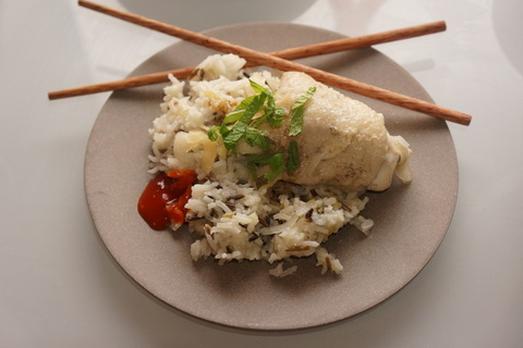 Hainanese chicken rice in all its glory