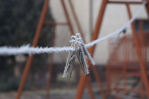 I like the colour of the swing set against the frost